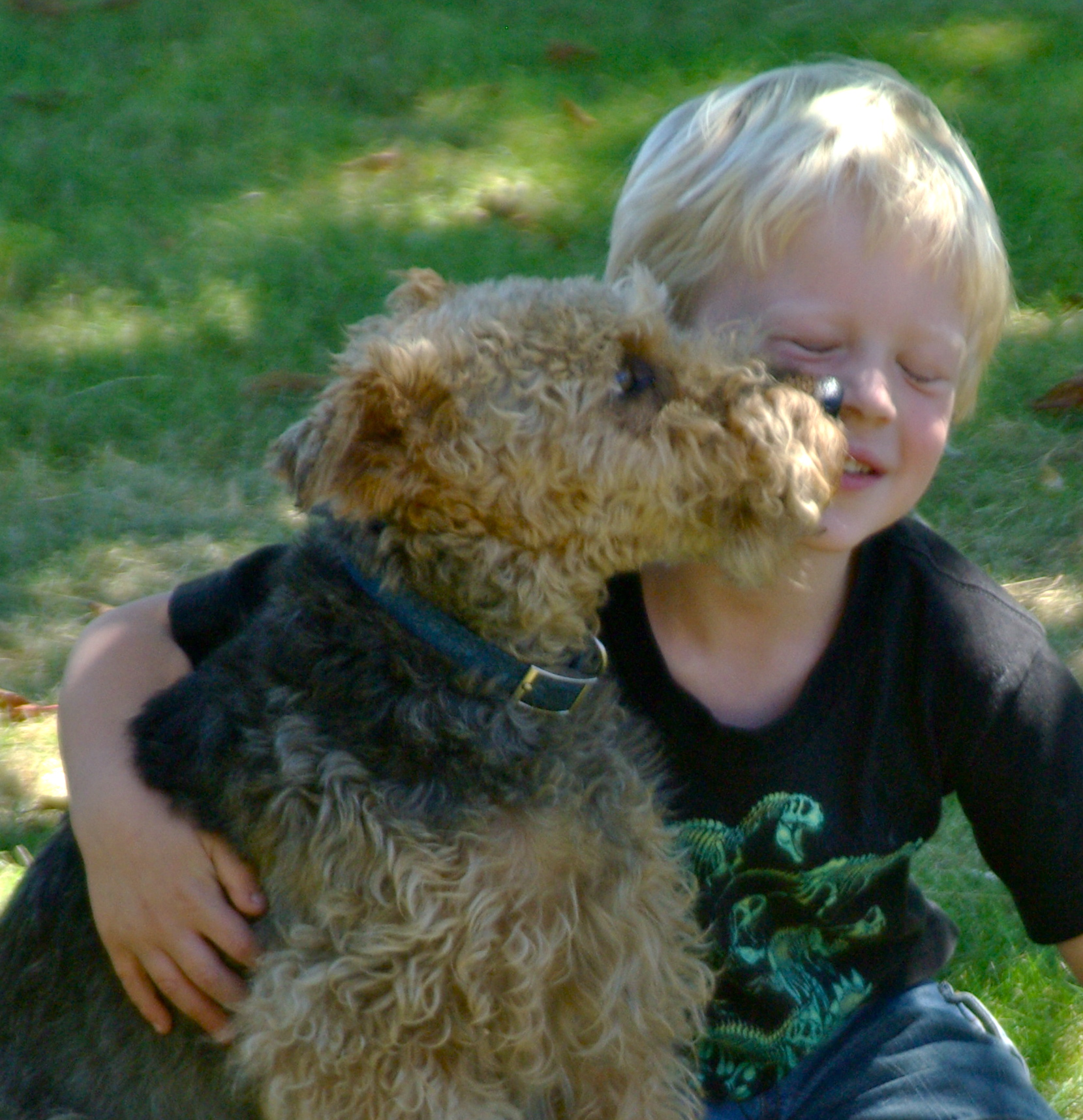 Sadie The Welsh Terrier and friend, Adam